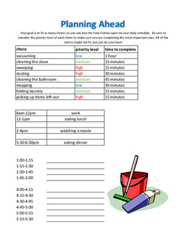 Chore Planning/Sequencing Worksheet