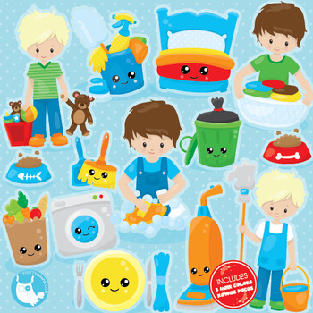 Chore boys clipart commercial use, vector graphics, digita