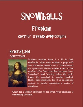 Chores Snowballs FRENCH