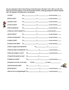 Chores Vocabulary student oral activity Spanish