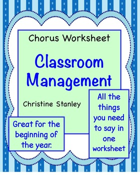 Chorus Classroom Management Worksheet