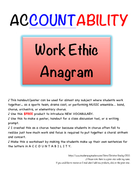 ACCOUNTABILITY – Work Ethic Acronymn + Worksheet