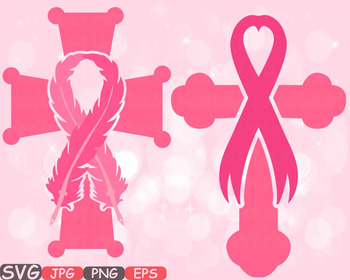 Christian Cross Breast Cancer Feathers Awareness ribbon cl