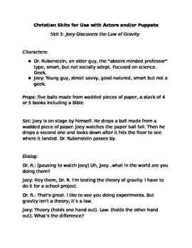 Christian Skits for Use w/Actors or Puppets #5:Joey Discov