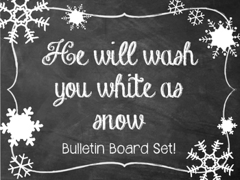 Christian Snow Bulletin Board Set.  He will wash you white