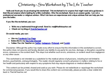 Christianity - Sin Worksheet