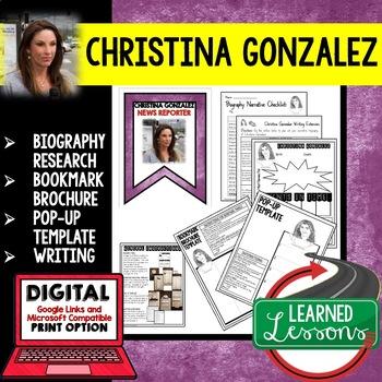 Christina Gonzalez Biography Research, Bookmark Brochure,