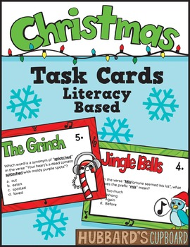 Christmas Activities - Christmas Task Cards - ELA Test Pre