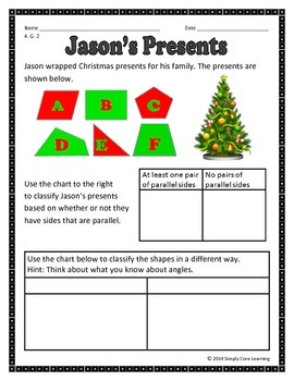 Christmas 4th Grade Common Core Math Assessment Task