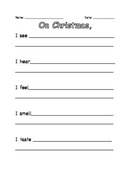 Christmas 5 Senses Writing