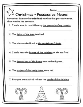 Christmas Activities Language Arts Possessive Nouns 2nd Ch