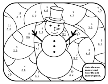 3rd Christmas Activities Math Multiplication Color by Numb