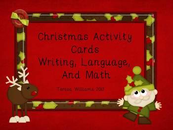 Christmas Activity Cards  Writing, Language, and Math