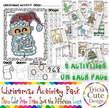 Christmas Activities Maze Coloring Drawing Tracing Spot Di