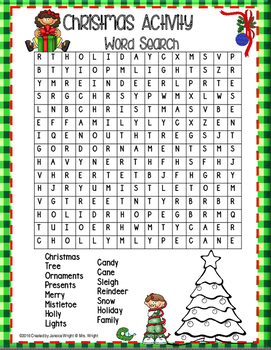 Christmas Activity Word Search