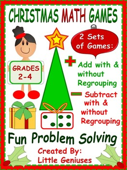 Christmas Adding and Subtracting With and Without Regroupi
