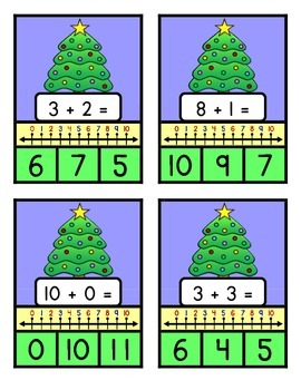 NUMBER LINE ADDITION TO TEN - Christmas Tree Theme