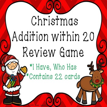 I Have Who Has Christmas Addition within 20 Game