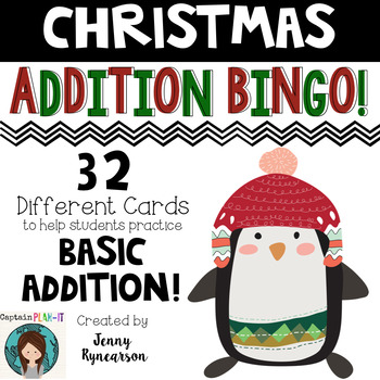 Christmas Addition BINGO! 32 different cards... with CUTE