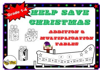 """Christmas Addition & Multiplication Tables Games: """"Help Sa"""