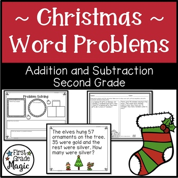 Christmas Addition and Subtraction Word Problems Second Grade