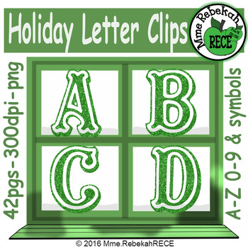 Christmas Alphabet Clip Set Commercial and Personal Use Green
