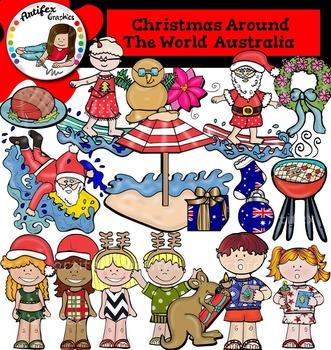 Christmas Around The World: Australia Clip Art- Color/ bla