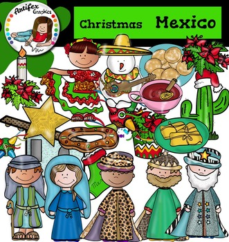 Christmas Around The World: Mexico Clip Art- Color/ black&