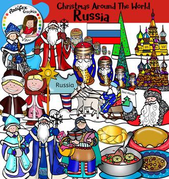 Christmas Around The World: Russia Clip Art- Color/ black&