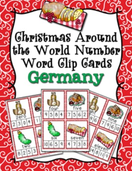 Christmas Around the World Germany Number Words Clip Cards