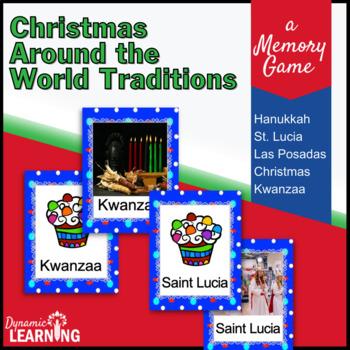 Christmas Around the World Vocabulary Memory Game with Rea