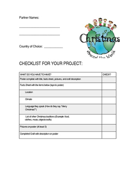Christmas Around the World Project Checklist *EDITABLE*