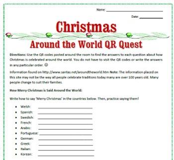 Christmas Around the World QR Code Activity / Sub Plan