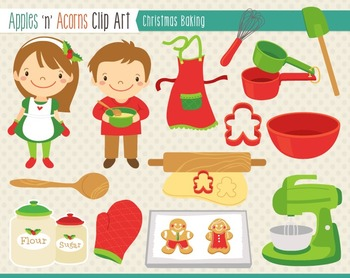 Christmas Baking Clip Art - color and outlines