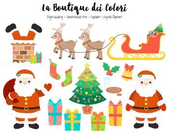 Christmas Santa's sleigh Clipart - PNG Cute Clip Art - Sma