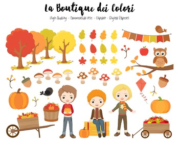 Autumn Boys Clipart - PNG Cute Clip Art Fall Graphics - Sm