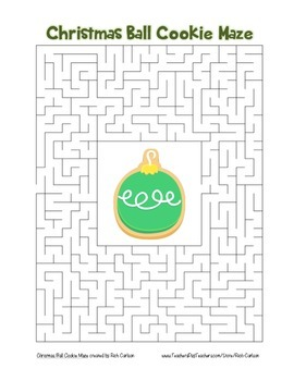 """Christmas Ball Cookie"" Maze! Holiday FUN! (Color and Black Line)"