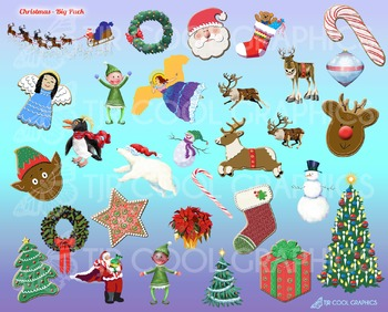 Christmas Big Pack, Digital Clip Art, Santa, Reindeer, Wre