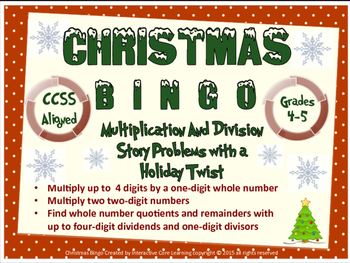 Christmas Bingo - Mult. and Div. Story Problems with a Hol