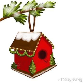 Christmas Birdhouse Clip Art Download - 4 files Printable