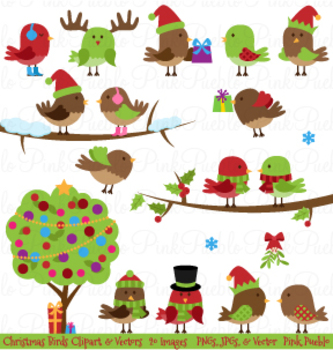 Christmas Birds Clipart and Vectors