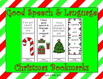 Christmas Bookmarks for Good Speech & Language