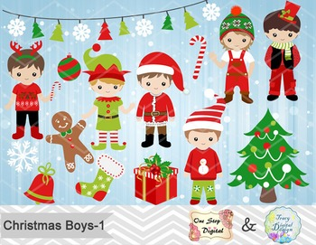Christmas Boys Digital Clip Art, Red and Green Christmas B