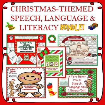 Christmas-Themed Speech, Language & Literacy Bundle! Pre-K