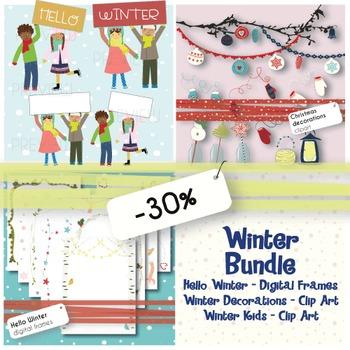 Winter Bundle - Clip art and Digital Frames {Save 30%}