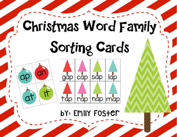 Christmas CVC Word Family Sorting Game
