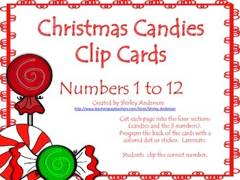 Christmas Candies- Clip Cards (Number Sense 1 to 12)