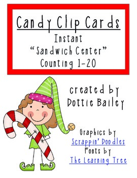 Christmas Candy Clip Math Center - Counting 1-20