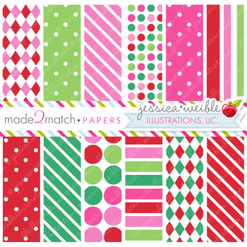 Christmas Candy Matching Digital Papers, Christmas Papers, Winter