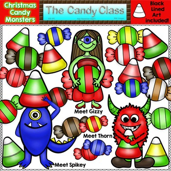 Christmas Candy Monster Clipart